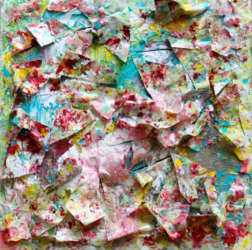 Pink Explosions, a painting by artist and curator Ellen Martin, is made of packing tape, crayons and acrylic paint.