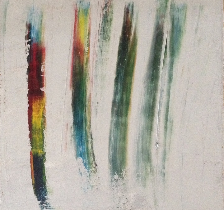 Swiped One, an abstract painting by Ellen Martin, is dominated by four stripes of decreasing colors.