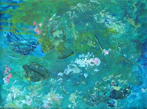 Undersea, a painting by Ellen Martin, is composed of acrylic skins and acrylic paint in cool soothing colors reminiscent of being under water.